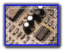 passice surface mount components and integated circuits on an electronics circuit